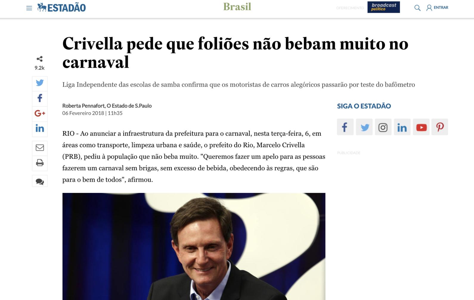 A verdadeira fala do prefeito Marcelo Crivella sobre bebida e carnaval.
